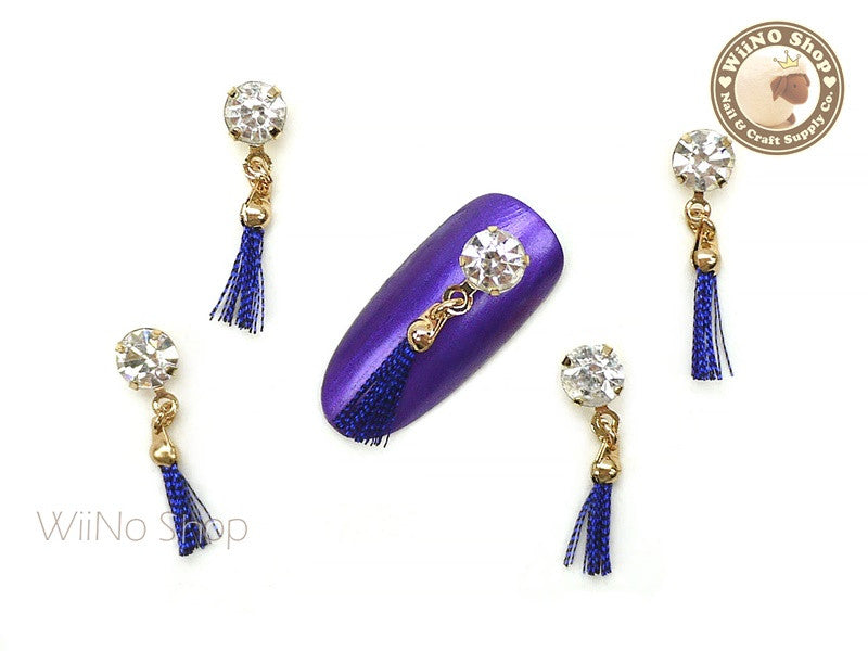 Crystal Royal Blue Tassel Nail Art Charm - 2 pcs