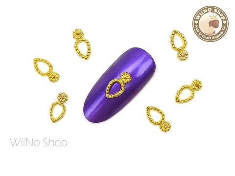 Gold Vector Drop Frame Nail Metal Charm - 4 pcs