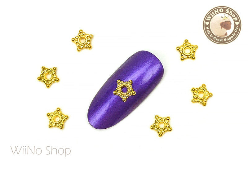 Gold Bead Star Nail Metal Charm - 4 pcs