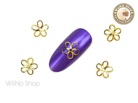 Hollow Flower Nail Metal Charm - 2 pcs