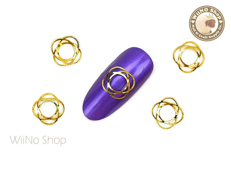 Hollow Retro Pattern Nail Metal Decoration - 5 pcs