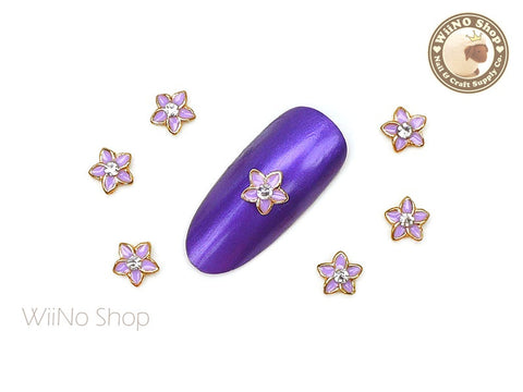 Purple Wildflower Nail Metal Charm - 2 pcs