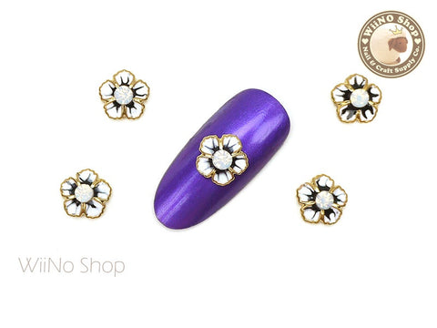 White Flower with Opal Crystal Nail Metal Charm - 2 pcs