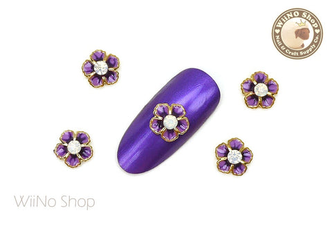 Violet Flower with Opal Crystal Nail Metal Charm - 2 pcs