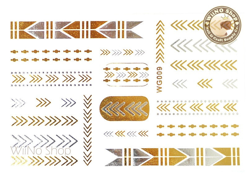 WG009 Gold Metallic Nail Jewelry Tattoos - 1 pc