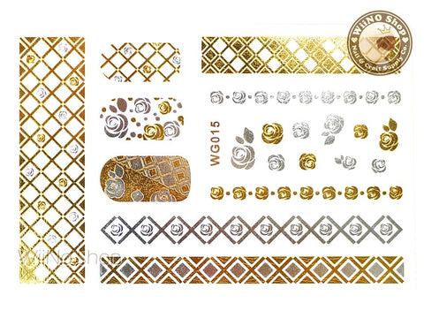 WG015 Gold Metallic Nail Jewelry Tattoos - 1 pc