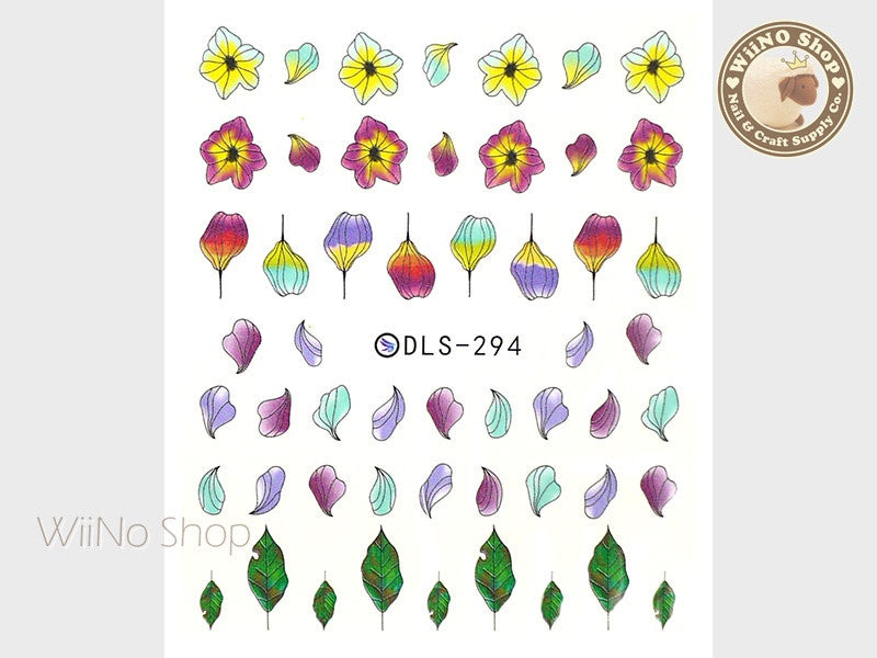 Spring Flower Petals Water Slide Nail Art Decals - 1 pc (DLS-294)