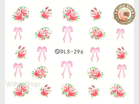 Vintage Rose Bow Water Slide Nail Art Decals - 1 pc (DLS-296)