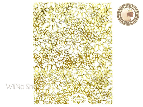 Gold Floral Pattern Adhesive Nail Art Sticker - 1 pc (BP049G)