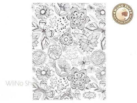 Silver Floral Pattern Adhesive Nail Art Sticker - 1 pc (BP054S)