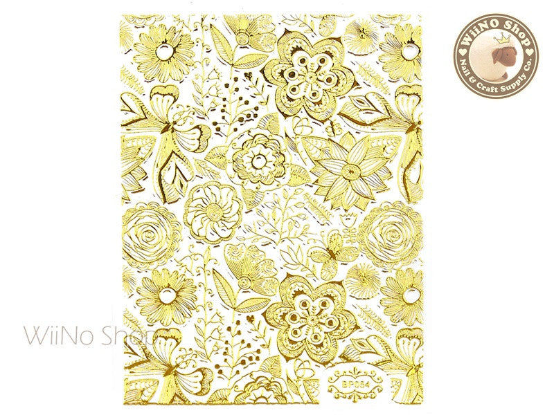 Gold Floral Pattern Adhesive Nail Art Sticker - 1 pc (BP054G)