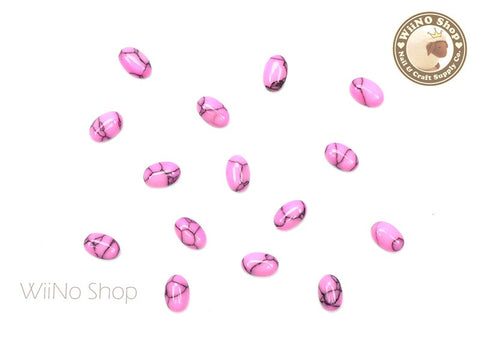 6 x 4mm Pink Turquoise Oval Gemstone Cabochon - 10 pcs