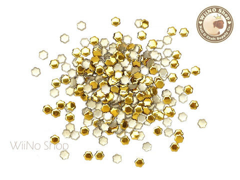 4mm Gold Flower Metal Studs - 100 pcs