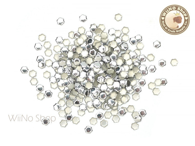 4mm Silver Flower Metal Studs - 100 pcs