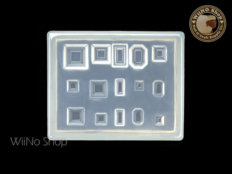 Rectangle Square Octagon Rhinestone 3D Nail Art Mold - 1 pc (PD03)