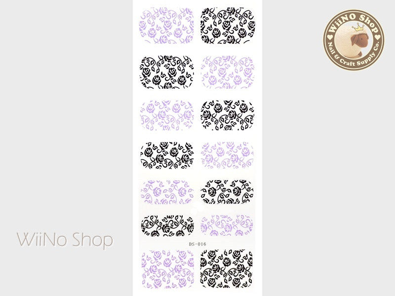 Black Purple Rose Pattern Water Slide Nail Art Decals - 1 pc (DS-016)