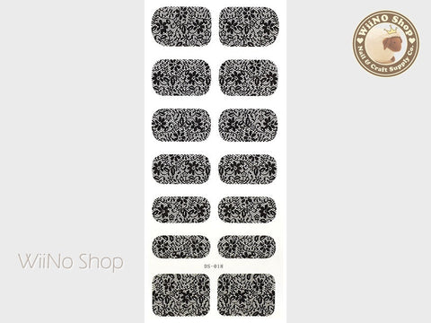 Black Lace Pattern Water Slide Nail Art Decals - 1 pc (DS-018)