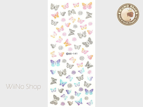 Colorful Butterfly Water Slide Nail Art Decals - 1 pc (DS-141)