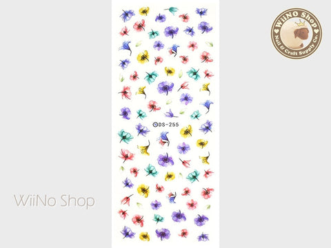 Spring Watercolor Flower Water Slide Nail Art Decals - 1 pc (DS-255)
