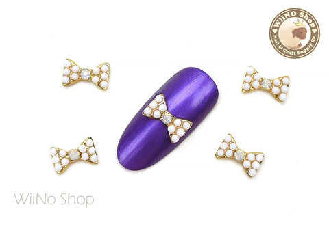 White Candy Bow Nail Metal Charm - 2 pcs
