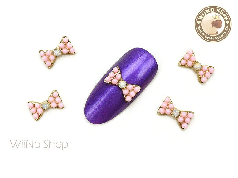 Pink Candy Bow Nail Metal Charm - 2 pcs