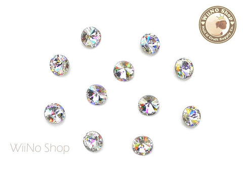 6mm AB Clear Round Rivoli Point Back Crystal - 5 pcs