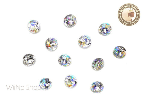 8mm AB Clear Round Point Back Crystal - 5 pcs
