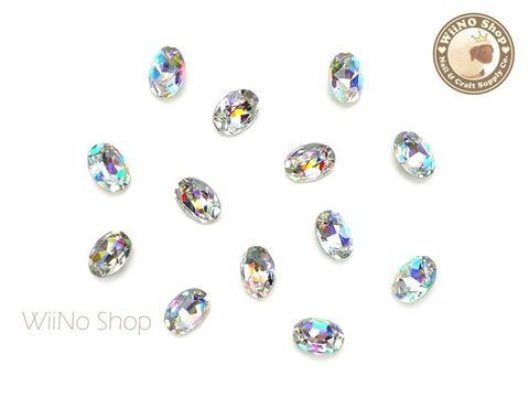 6 x 8mm AB Clear Oval Point Back Crystal - 5 pcs