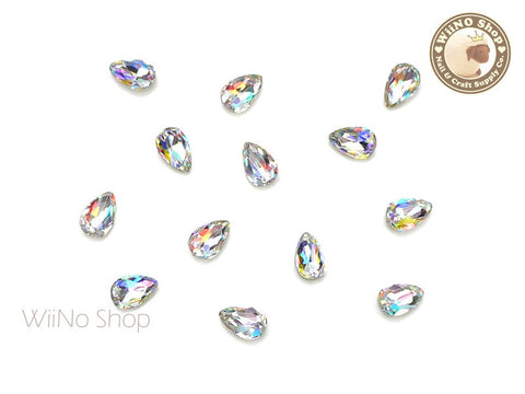 4 x 6mm AB Clear Drop Point Back Crystal - 5 pcs