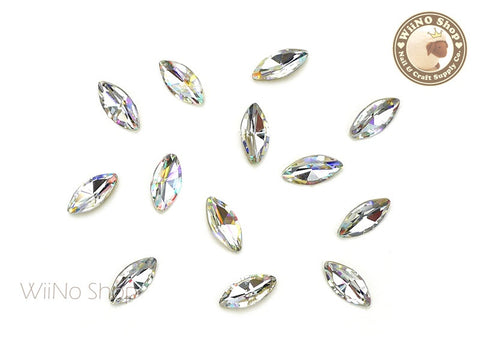 5 x 10mm AB Clear Marquise Point Back Crystal - 5 pcs