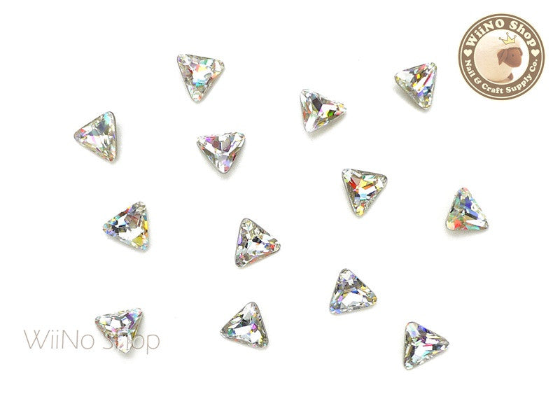 6mm AB Clear Triangle Point Back Crystal - 5 pcs