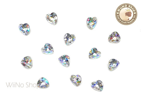 5 x 5.5mm AB Clear Heart Point Back Crystal - 5 pcs