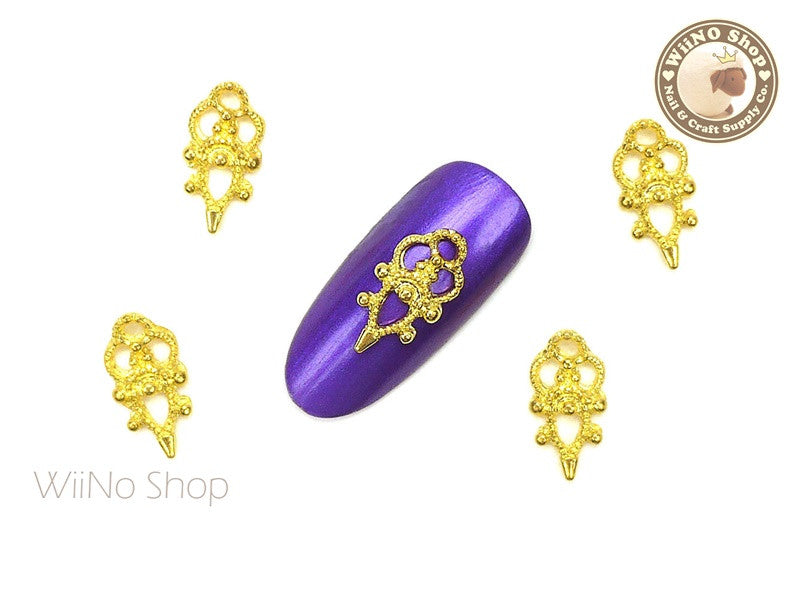 Gold Marie Vintage Hollow Pattern Nail Metal Charm - 2 pcs