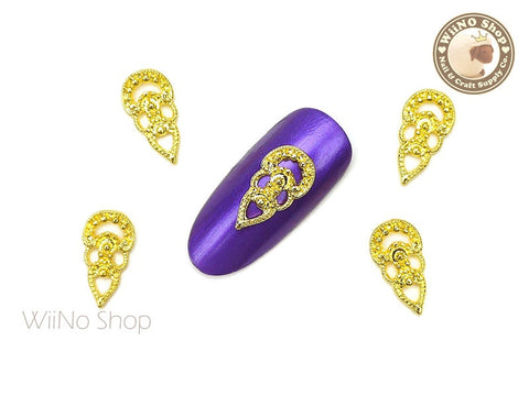 Gold Florence Vintage Hollow Pattern Nail Metal Charm - 2 pcs