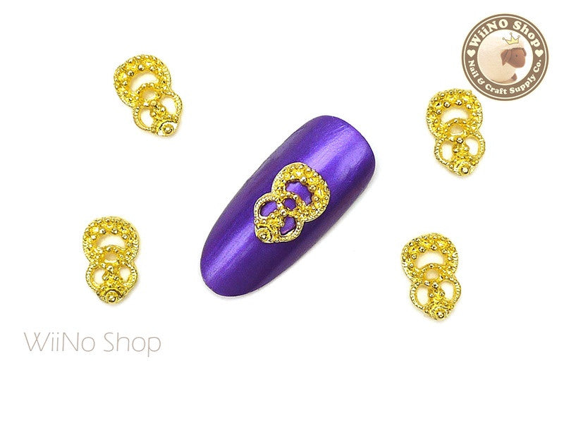 Gold Clara Vintage Hollow Pattern Nail Metal Charm - 2 pcs