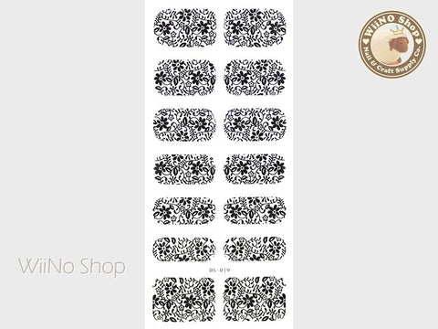 Black Floral Pattern Water Slide Nail Art Decals - 1 pc (DS-019)