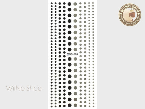 Black Gray Dots Water Slide Nail Art Decals - 1 pc (DS-078)