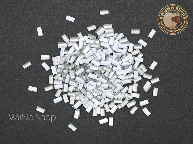 2 x 4mm White Rectangle Metal Studs - 100 pcs