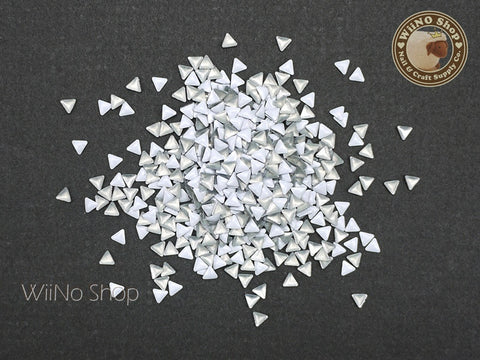 3mm White Triangle Metal Studs - 100 pcs