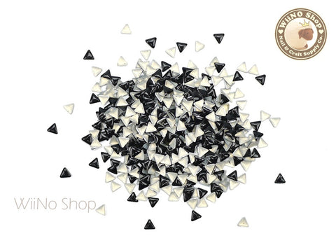 3mm Black Triangle Metal Studs - 100 pcs