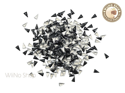 3 x 5mm Black Skinny Triangle Metal Studs - 50 pcs
