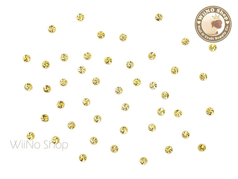 2mm Gold Swirl Pattern Round Metal Studs - 10 pcs