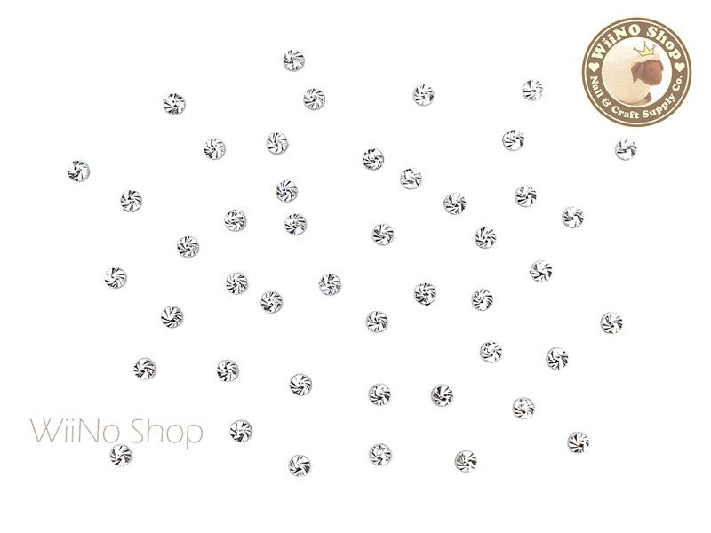 2mm Silver Swirl Pattern Round Metal Studs - 10 pcs