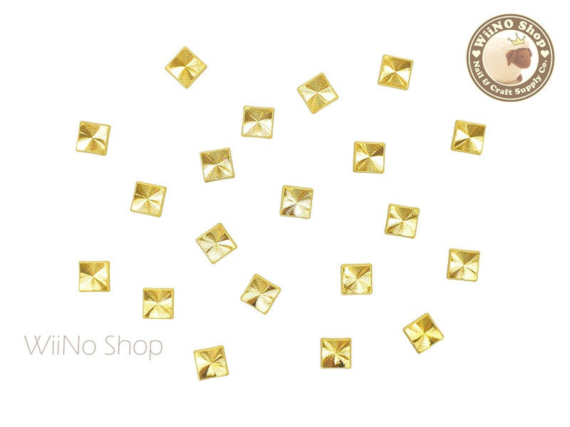 4mm Gold Square Concentric Pattern Metal Studs - 10 pcs