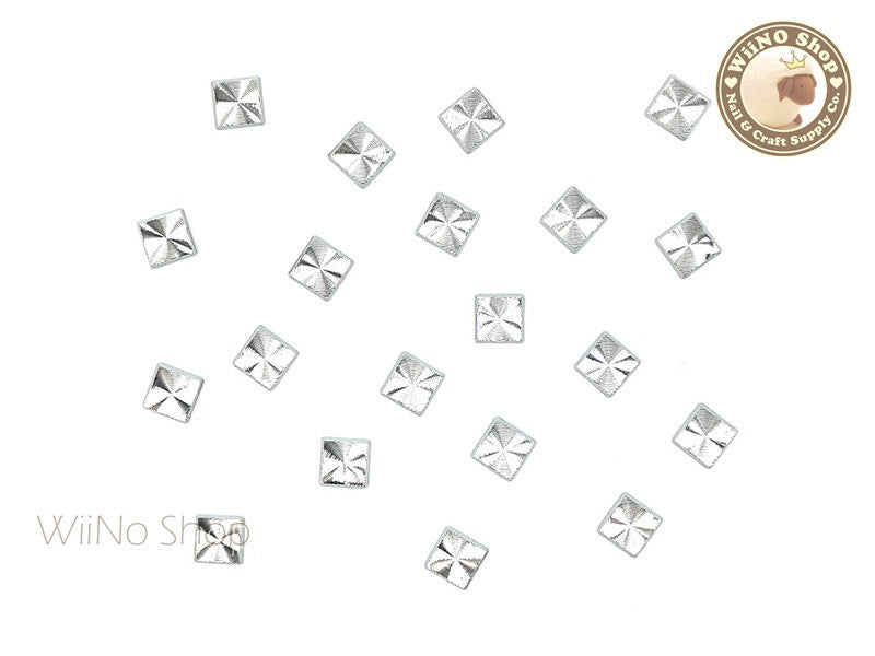 4mm Silver Square Concentric Pattern Metal Studs - 10 pcs