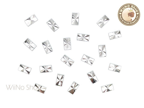4 x 7mm Silver Rectangle Concentric Pattern Metal Studs - 10 pcs
