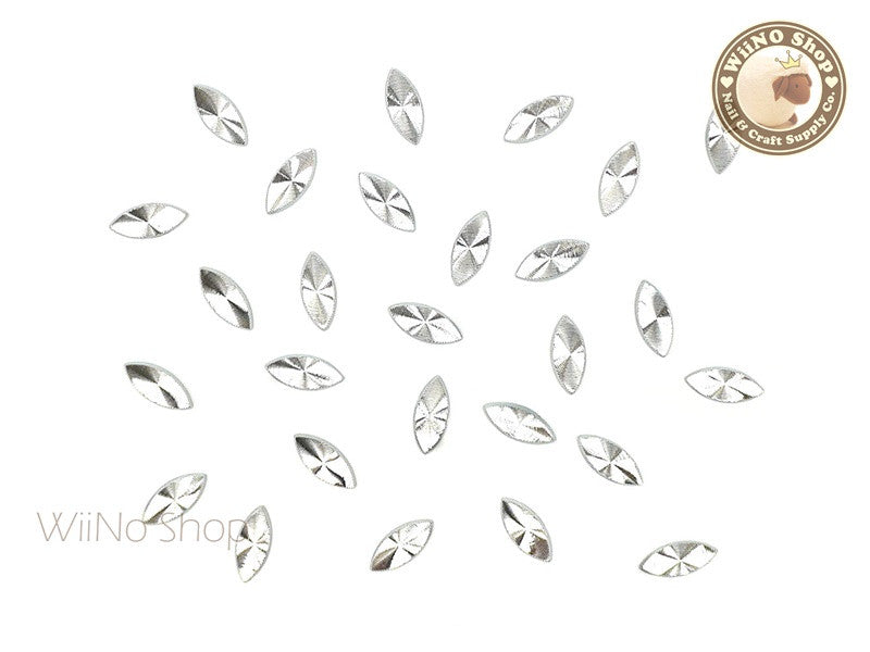 3 x 7mm Silver Marquise Concentric Pattern Metal Studs - 10 pcs