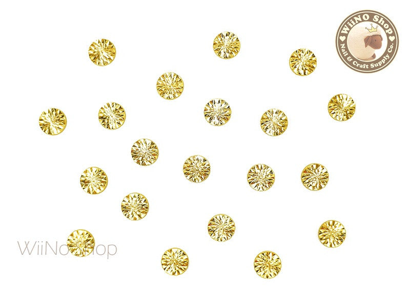 6mm Gold Cannage Pattern Round Metal Studs - 10 pcs