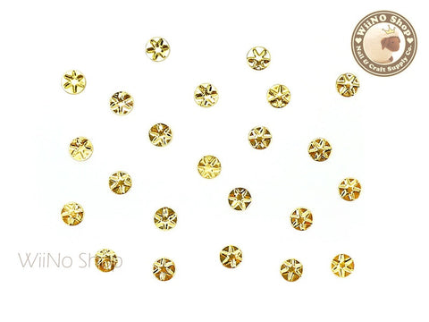 4mm Gold Star Pattern Round Metal Studs - 10 pcs