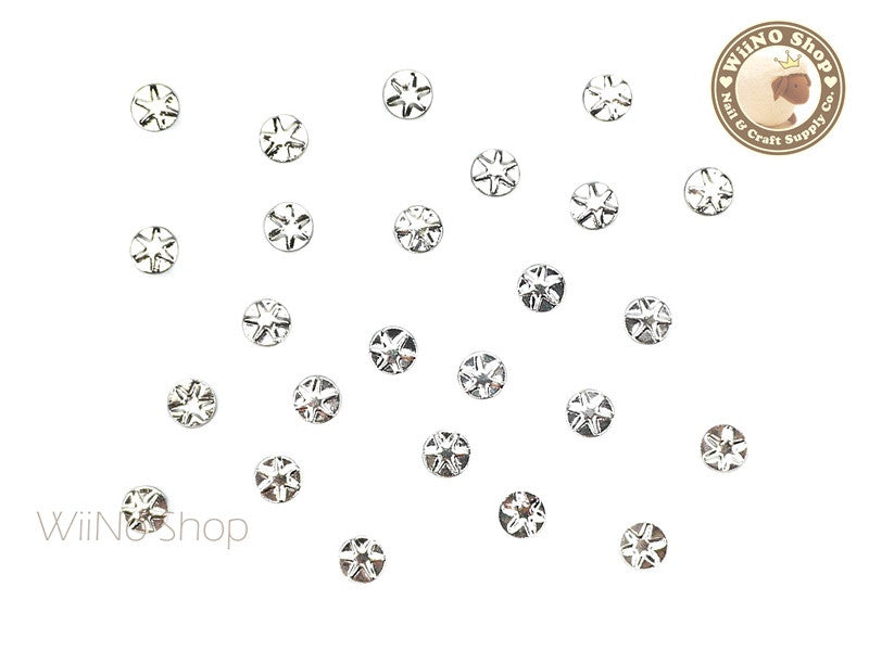 4mm Silver Star Pattern Round Metal Studs - 10 pcs